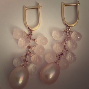 14k JewelMak pink pearl pink quartz dangle earring